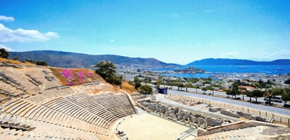 Beautiful panorama oil painting from Bodrum ancient theater