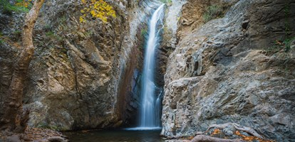 Millomeri waterfall near Platres in the Troodos. Cyprus.