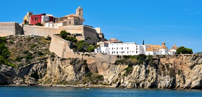 View of Dalt Vila, the old town of Ibiza Town, in Ibiza, Balearic Islands, Spain