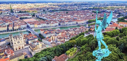 View of Lyon from the top of Notre Dame de Fourviere