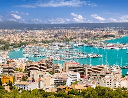 Aerial view of Palma de Mallorca in Majorca Balearic islands Spain