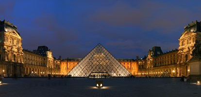Courtyard of the Museum of Louvre, and its pyramid. This picture is a panorama made from stitching three pictures with Hugin