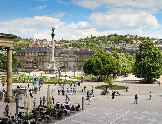 Stuttgart (Germany) Castle Square in the city center in spring (May 2013)
