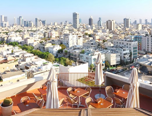 Bilete de avion Tel Aviv; View of Tel-Aviv city from roof cafe (Israel)