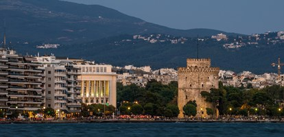 White Tower of Thessaloniki at dusk time, Greece - Long Exposure Shot with tele lens