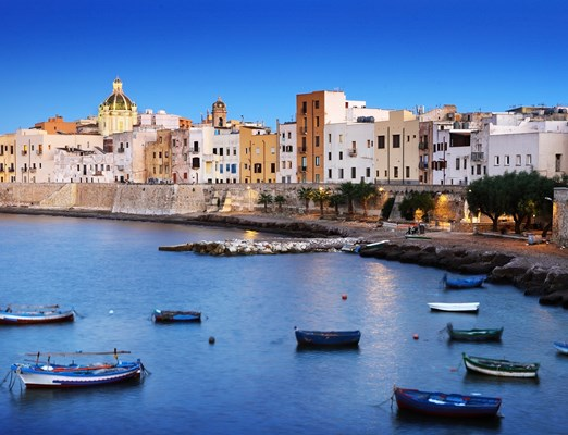 classic evening scene of Trapani town in Sicily