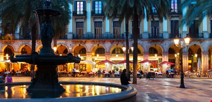 Placa Reial in night. Barcelona, Spain