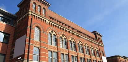 Birmingham Jewellery Quarter. Old brick factory building. West Midlands, England.