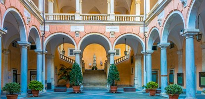 Courtyard of one of the palaces of strada nuova - doria tursi palace in Genoa, Italy