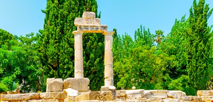 ruined columns in ancient Agora of Kos island in Greece