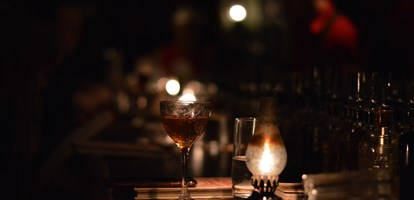 Cocktails in a speakeasy