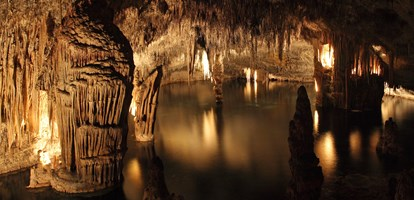 Coves del Drach ( Dragons cave ) on Mallorca Island - 4 caves connected with 2,5 km of pathway offers also boat trip on Martel lake considered as one of the largest subterranean lakes in the world