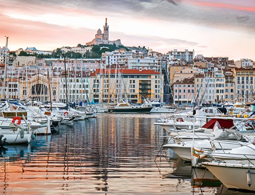 Beautiful sunrise in the harbor of Marseille, Provence, France