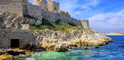 "Chateau d'If castle on an island in Marseilles, France, famous through Dumas novel ""The Count of Monte Cristo"""