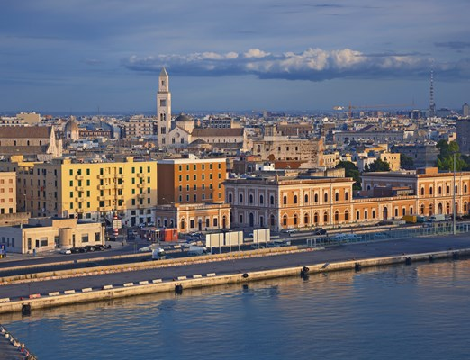 Port of Bari. Image of Bari located in southern Italy. It is the second most important economic centre of mainland Southern Italy after Naples.