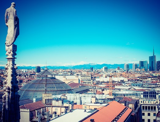 Bilete de avion Milano; Milan city monuments and places Porta Garibaldi district from Duomo roof terrace- vintage style photo