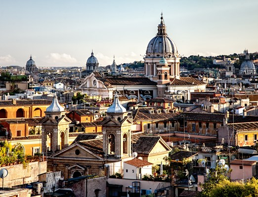 Panorama of Rome from Spanish steps in the evening