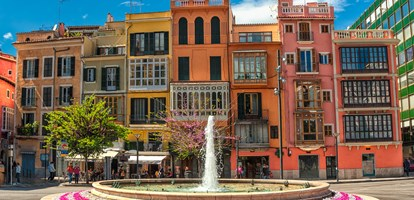 Old colorful houses in the center of spanish town Palma de Mallorca, Spain