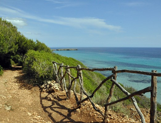 Hiking path along the coast in Menorca, Spain